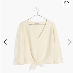 NWT Madewell long sleeve tie front top